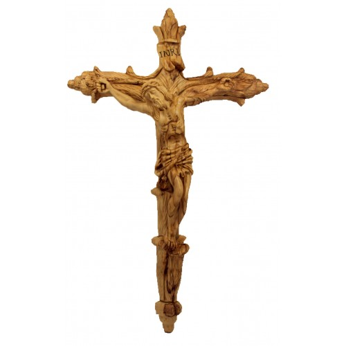 Intricate Olive Wood hand-carved Crucifix : Art # N1446