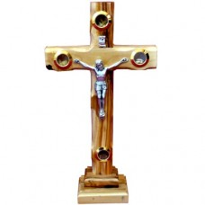 Catholic Cross With Elements On Stand Olive Wood 23 cm / 9.05'' : Art# N1482